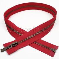 YKK Молния металлическая (Т-5) (антик), (60см), один бегунок, разъемная, красный (519)